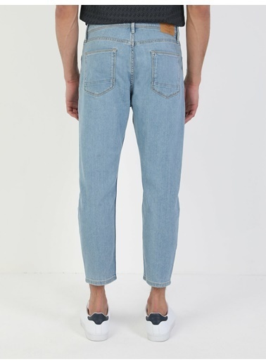 Colin's 039 Lucas Drop Crotch Kısa Paça Carrot Fit Açık Mavi Erkek Jean Pantolon İndigo